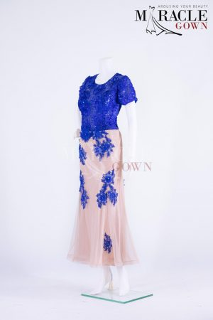 Sewa Gaun Surabaya - Miracle Gown - Deep blue vendela on top of cream shaded dress