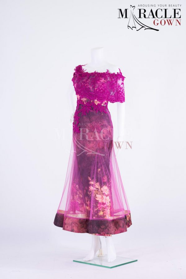Sewa Gaun Surabaya - Miracle Gown - One shoulder lace on burnt pink cocktail dress