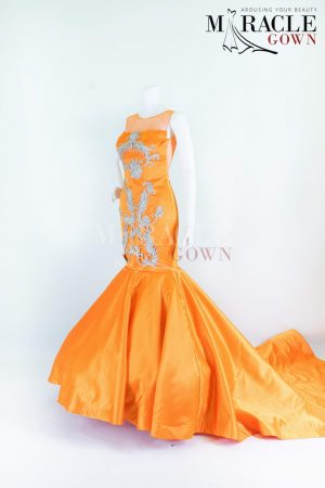 Sewa Gaun Surabaya - Miracle Gown - Silver Embroidery In Orange Crush Mermaid Gown