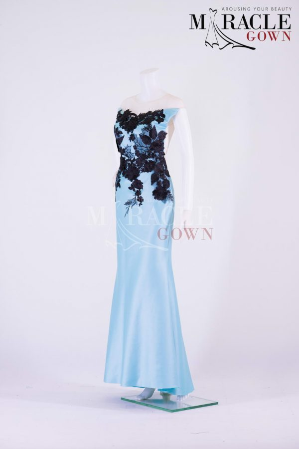 Sewa Gaun Surabaya - Miracle Gown - Strapless Blue Evening Gown With Raven Black Brocade