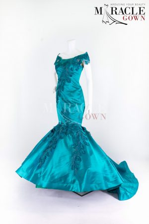 Sewa Gaun Surabaya - Miracle Gown - The Deep Turquoise Sabrina Gown Alongside Beaded Brocade