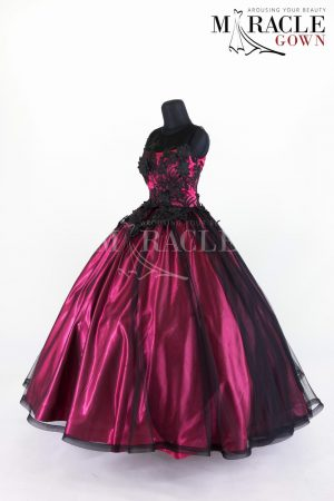 Sewa Gaun Surabaya - Miracle Gown - Black ink brocade embelished on red velvet ball gown