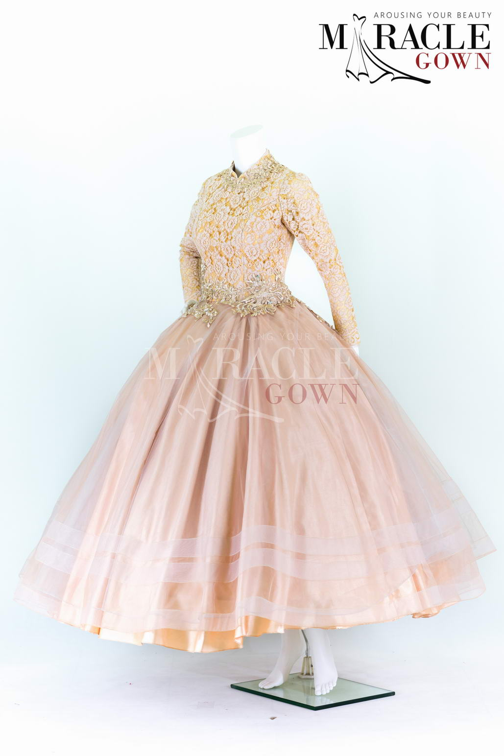 Full Pleats Ball Gown With Light Gold Brocade Miracle Gown Jahit