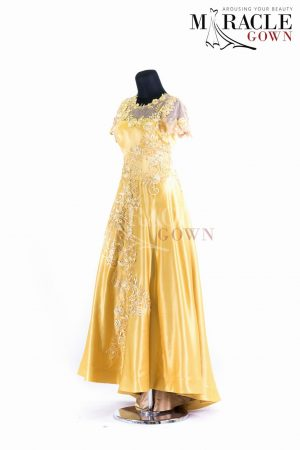 Sewa Gaun Surabaya - Miracle Gown - Lemon grass brocade on long evening gown
