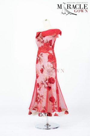 Sewa Gaun Surabaya - Miracle Gown - Red Roses Mermaid