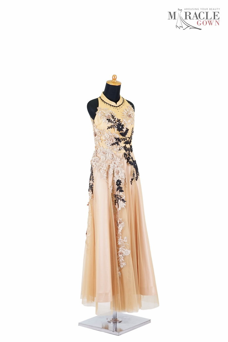Sewa Gaun Surabaya Miracle Gown Halter neck gold tulle dress