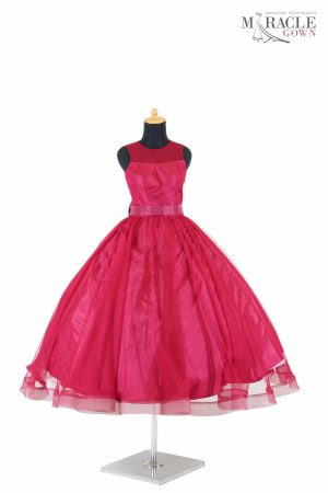 Sewa Gaun Surabaya - Miracle Gown - Maroon ballgown dress with obi