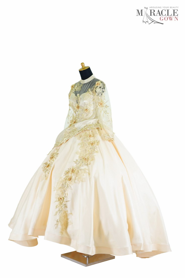 Royal Ivory Cool With Gold Flowers Ballgown Miracle Gown Jahit